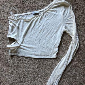 Tobi long sleeve white crop top
